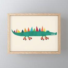 Crocodile on Roller Skates Framed Mini Art Print