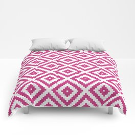 Magenta and white ethnic tribal zig zag rhombus pattern Comforters