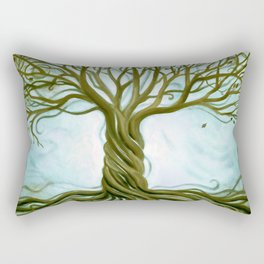 Blue and Brown Swirly Tree of Life by Renee Womack Rectangular Pillow