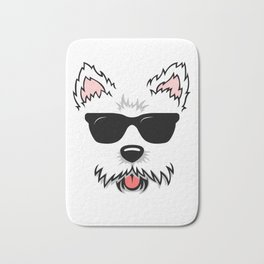Cute White Terrier Westie Dog Face with Sunglasses for Westie Lovers Bath Mat