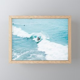 Wave Surfer Turquoise Framed Mini Art Print
