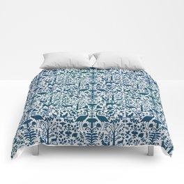 Folk Art Pattern Blue Teal on Gray Comforters