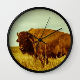Vintage Bison - Buffalo on the Oklahoma Prairie Wall Clock
