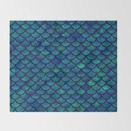 Mermaid scales iridescent sparkle Throw Blanket