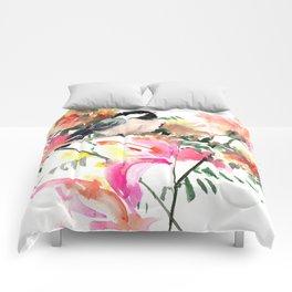 Chickadee bird art design, Birds and Flowers Comforters