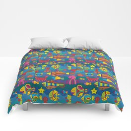 Stylize fantasy fishes under water Comforters