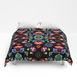 Fiesta Folk Black #society6 #folk Comforters
