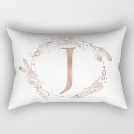 Letter J Rose Gold Pink Initial Monogram Rectangular Pillow