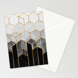 Charcoal Hexagons Stationery Cards