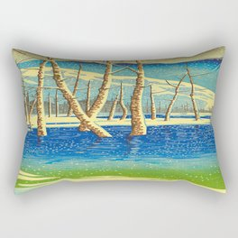 Kawase Hasui Vintage Japanese Woodblock Print Rectangular Pillow