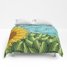 SUNNY DAY (abstract flowers) Comforters