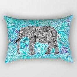 Mandala paisley boho elephant blue turquoise watercolor illustration Rectangular Pillow