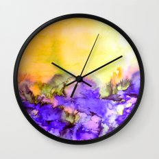 INTO ETERNITY, YELLOW AND LAVENDER PURPLE Colorful Watercolor Painting Abstract Art Floral Landscape Wall Clock