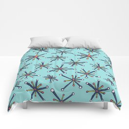 Viruses Resembling Molecules - Retro Modern Microbiology Pattern Comforters