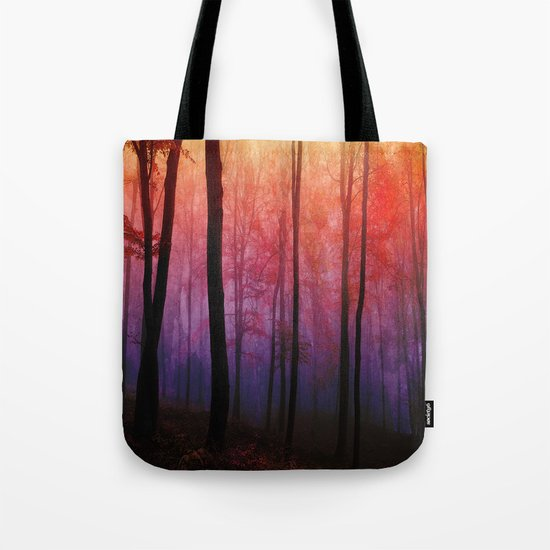 Whispering Woods, Colorful Landscape Art Tote Bag