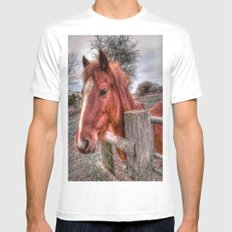 Pony  White MEDIUM Mens Fitted Tee