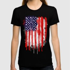 American Spatter Flag SMALL Womens Fitted Tee Black