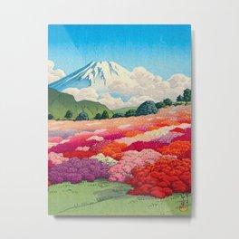 View of an Azalea Garden and Mt. Fuji: Hasui, Kawase Original Japanese Woodblock Print Metal Print