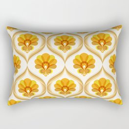 Ivory, Orange, Yellow and Brown Floral Retro Vintage Pattern Rectangular Pillow