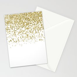 Sparkling gold glitter confetti on simple white background - Pattern Stationery Cards