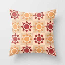 Native American inspired pattern with abstract sun symbol Throw Pillow