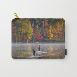 Two Canada Geese swimming in Fall Carry-All Pouch