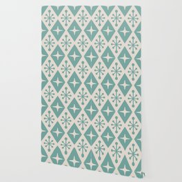 Mid Century Modern Atomic Triangle Pattern 710 Green and Beige Wallpaper