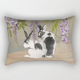Two Rabbits Under Wisteria Tree Rectangular Pillow