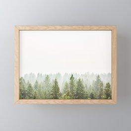 arial forest print, tree top print, wall art, woodland print, forest print, arial fog tree phoo Framed Mini Art Print