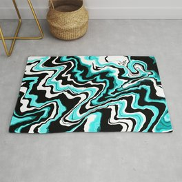 Blue liquified,marble effect decor Rug