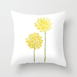 two abstract dandelions watercolor Throw Pillow