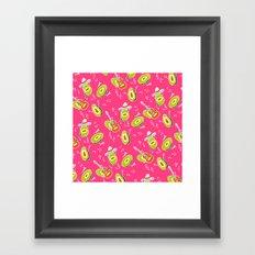 Funny summer modern avocado guacamole cartoon music band pattern illustration Framed Art Print