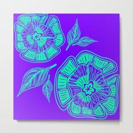Aqua Poppies on purple blue Metal Print
