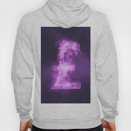 Pound sterling sign, Pound sterling Symbol. Monetary currency symbol. Abstract night sky background. Hoody