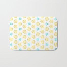 Spring Yellow Blue Flower Pattern Badematte