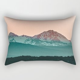 Grainy Sunset Mountain View // Textured Landscape Photograph of the Beautiful Orange and Blue Skies Rectangular Pillow