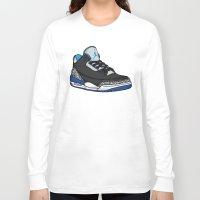 sport Long Sleeve T-shirts featuring Jordan 3 (Sport Blue) by Pancho the Macho