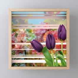 Flower Garden & Purple Tulips Stripes Collage Framed Mini Art Print