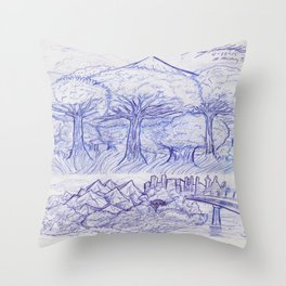 Scenery and Environment Art Sketch  Throw Pillow