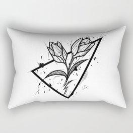 Tulip Handmade Drawing, Made in pencil and ink, Tattoo Sketch, Tattoo Flash, Blackwork Rectangular Pillow