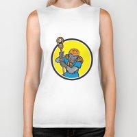 lacrosse Biker Tanks featuring Gorilla Lacrosse Player Circle Cartoon by patrimonio