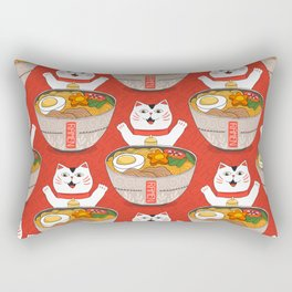 Liter of Ramen. Japanese soup and Manekineko cat. Rectangular Pillow