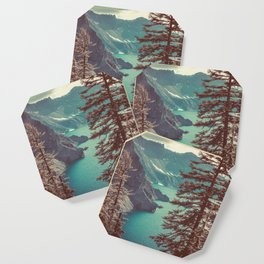 Vintage Blue Crater Lake and Trees - Nature Photography Coaster