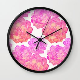 Rosette Succulents – Pink Palette Wall Clock