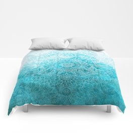 Fade to Teal - watercolor + doodle Comforters