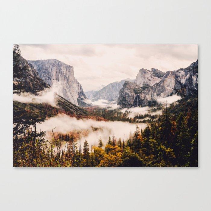 Amazing Yosemite California Forest Waterfall Canyon Leinwanddruck