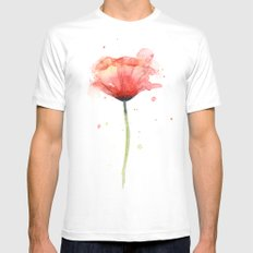 Red Poppy Watercolor Flower Floral White LARGE Mens Fitted Tee