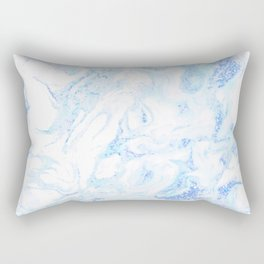 White Marble with Pastel Blue Purple Teal Glitter Rectangular Pillow