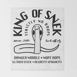 King Of Snek Funny Motorcycle Biker Style Snake Throw Blanket
