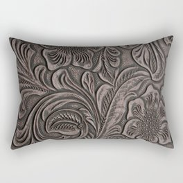 Distressed Smoky Tooled Leather Rectangular Pillow